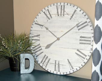 "24"" Large Oversized Rustic Wood Wall Clock-Antique White with Gray Roman Numerals"