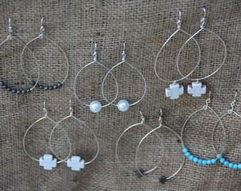 Silver Teardrop Earrings | Handcrafted | Pearl | Turquoise | Cross | Beaded Earrings