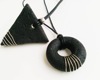 Black geometric pendant necklace, minimalist modern black necklace, arrow and torus flow of time and energy, art polymer clay jewelry, boho