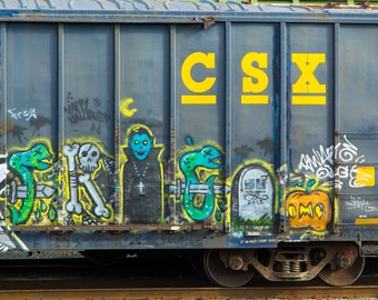 Halloween - Trick or Treaters: Train art, graffiti. Frame not included. Individually photographed and printed by Frank Heflin