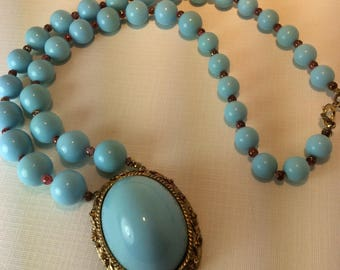 vintage Robin Egg Blue Necklace