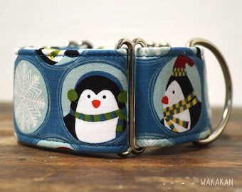 Martingale dog collar model Penguin Adventure. Adjustable and handmade with 100% cotton fabric. Winter style, snow flakes Wakakan
