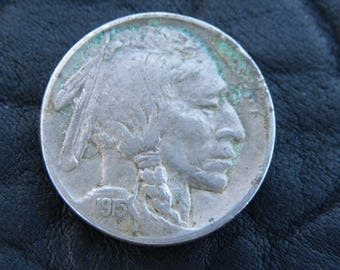 1915 US circulated  authentic vintage Buffalo Indian Nickel coin full date full horn  A136