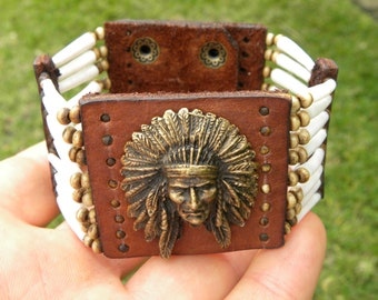 Ketoh Cuff bracelet wristband  Native Indian head  chief dentalium good luck shell Bison leather nice gift for FSU Seminole or Indian lovers