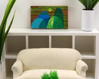 Original Artwork for the Modern Miniature Home - Green Hills in the Fog