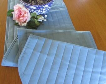 Vintage Quilted Table Runner   Light Blue Runner   Blue Center Piece    Vintage 90s Runner