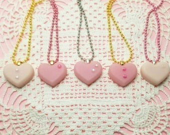 Pink Resin Heart Necklaces