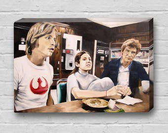 Rebel Breakroom - Princess Leia / Carrie Fisher, Han Solo / Harrison Ford, Luke Skywalker / Mark Hamill, Star Wars Canvas Art Print