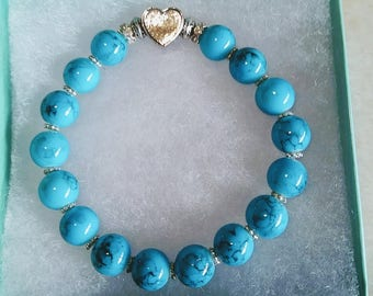 Turquoise & Heart Charm Beaded Charm Bracelet