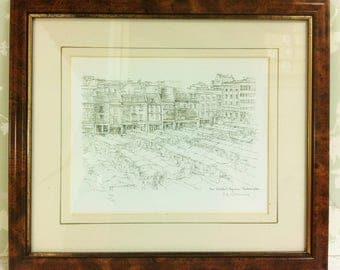 Framed Pen and Ink Drawing of the Market Square Northampton Limited Edition Print