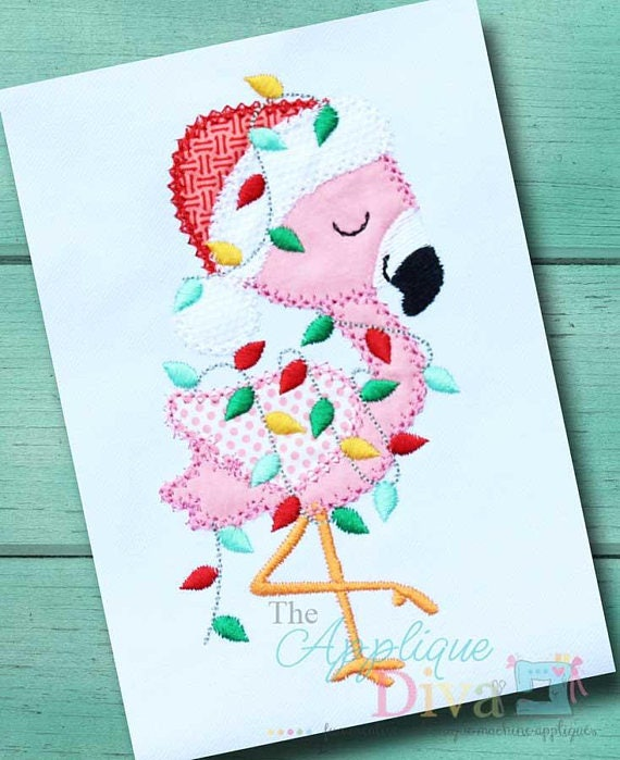 Santa Flamingo Applique, Christmas Flamingo, Santa Applique, Christmas Applique, XMAS Shirt