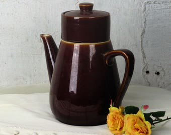 Vintage Teapot Coffeepot Villeroy & Boch Luxembourg Chocolate brown Strainer