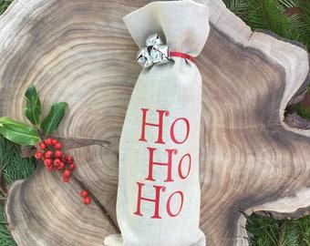 "Linen ""Ho Ho Ho"" Wine Gift Bag with Ribbon & Silver Bells Tie"