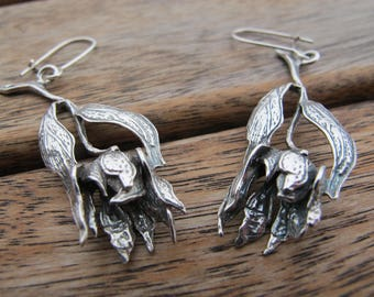 Silver Flower Earrings, Long Silver Flower Earrings, Flower Earrings, Sterling Silver Earrings, Silver Dangle Earrings, Nature Earrings