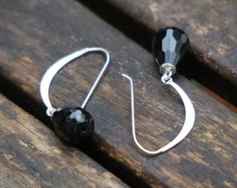 Pearl Earrings - Onyx Earrings - Silver Dangle Earrings - Pearl Jewelry - Onyx Jewelry - Sterling Silver Earrings - Mother's Day Gift