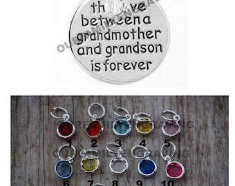Love between a Grandmother Grandma and Grandson are forever hand stamped pendant necklace