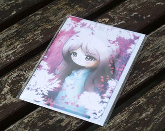 Sad and Lonely Girl Greetings Card