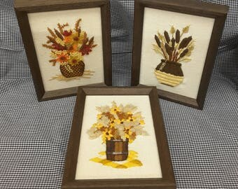 Vintage Needle Point 1970s Floral And Grain Decor Handmade Embroidery Fall Collectible