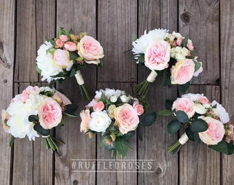 Boho Bouquet, Bridesmaid Bouquet, Wildflower Bouquet, Bouquet, Pink and Ivory Bouquet