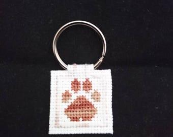 Cross stitch Paw Keyring