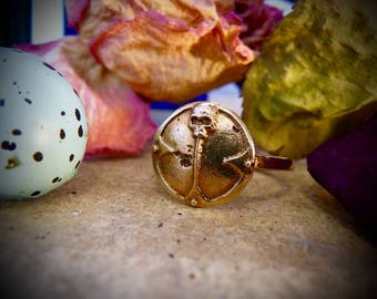 Antique Vintage Victorian Gothic Gold Shield and Skull Ring Memento Mori Mourning Death Signet Celtic