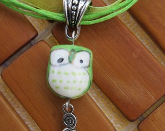 Apple green porcelain OWL necklace