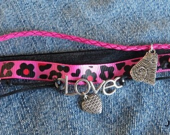 Love Bohemian style multi strand bracelet in pink and black
