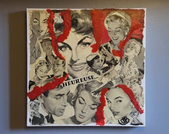 """""""HAPPY"""" COLLAGE ON CANVAS 50-60 YEARS"""