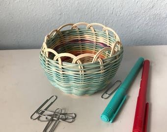 "Hand woven basket titled ""misty rainbow"" Authentic Native America Art double wall basket handmade basket"