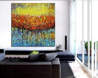 ON SALE Original modern abstract painting art deep texture wall decor canvas  modern wall design red blue yellow one of a kind artwork free