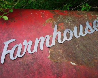 "Farmhouse 23"" Rustic Raw Steel Cursive Word Art Wall Sign Metal home decor by BE Creations"