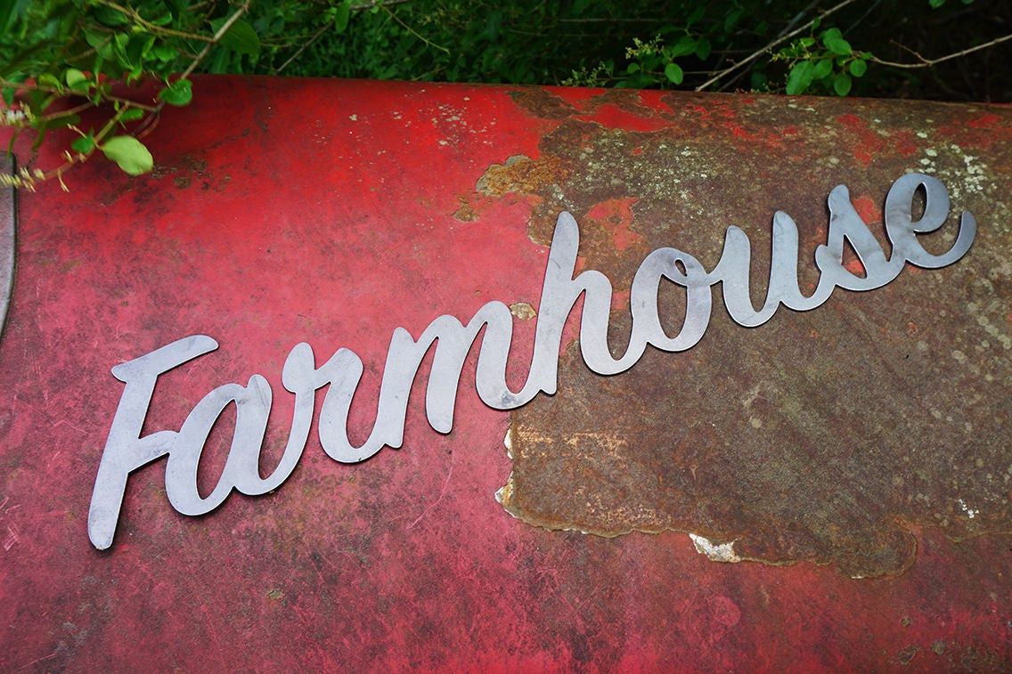 farmhouse 23 rustic raw steel cursive word art wall sign