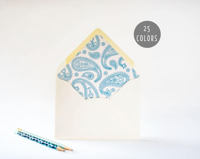 paisley lined envelopes (25 color options) - sets of 10  // modern envelope liners wedding shower party invitation invite