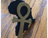 Black Africa w/ Ankh Wood Adjustable Ring