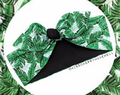 Club Tropicana Palm Leaf Rockabilly Vintage 1940's 1950's Pin Up Inspired Head Scarf Hair Tie Headscarf Hair Bow by Miss Cherry Makewell