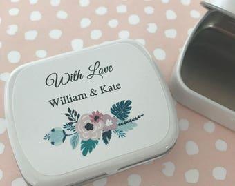 Floral Bouquet design personalised mint tin wedding favours