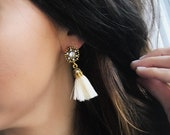 Tassel Earring | Statement Earrings | Gold and Ivory Cream Tassels | Bridal Jewelry | Statement Jewelry | Louis and Finn