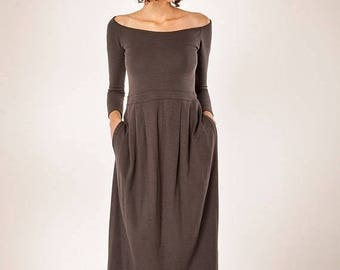Christmas in July On Sale, Women Dress ,Gray Dress,Midi Dress,Women's Dress,Long sleeves Dress,Grey Dress, Maxi Dress,Winter Dress,Women Mid