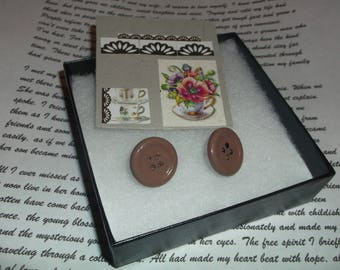 Brown Button Studs Old Fashioned Non toxic paint Tea Time Antique Style