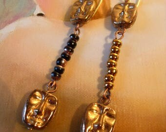 Bronze Mask Earrings Gold black beads glass beads Theater Dance Summer