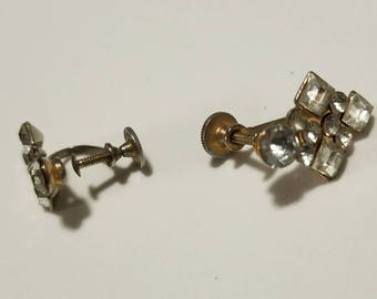 Vintage Gold and Rhinestone Clip On/Screw on Earrings, Vintage Faux Diamonds, Estate Jewelry