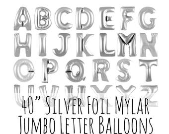 "40"" Silver Letter Balloons, 40 Inch Shiny Silver Foil Mylar Balloons, Custom Pick Your Letters, Party Decoration, Photo Prop, Name Balloons"
