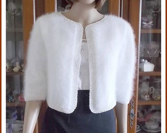 TO order: Angora and silk white women Bolero Cardigan