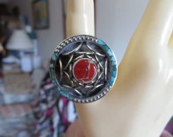 Tibetan Silver Genuine Coral & Turquoise Unique Ring Size 10, Weight 21.5 Grams