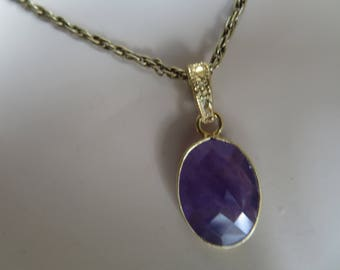 Handcrafted 12.25ctw Genuine Amethyst Rose Cut Oval 14KT Gold/925 Sterling Silver Pendant, Weight 2.6g