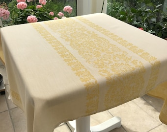 STUNNING SWEDISH TABLECLOTH / Shiny cloth / Scandinavian / Cotton / Textile / Vintage / Light yellow / Woven tablecloth / Floral