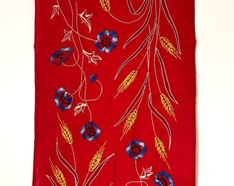 VINTAGE FRENCH TABLECLOTH / Cloth / Table runner / Cottage style / Hand made / Embroidery / Floral / Colorful / Romantic / Red / Blue