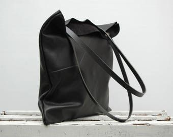 Leather tote bag,everyday bag,supple leather,soft leather,flat tote