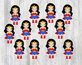 Wonder Woman Cupcake Toppers/Wonder Woman/Cupcake Toppers/Superhero/Superhero Toppers/Superhero Birthday/Girl Party