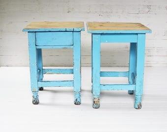 antique blue stools-set